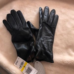 Charter Club Black Lined Leather Gloves Medium